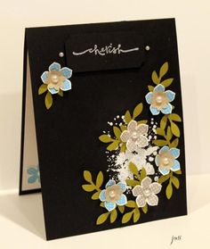 Cherish Petite Petals on Black inspired by Amanda Pandacream Stampin Up!