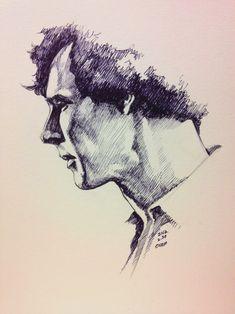 Sherlock Profile Portrait in Pen by evankart.