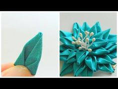 Плоский лепесток канзаши Цветок из ленты своими руками - YouTube