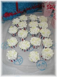 popcorn cupcakes, perfect for a b-day party