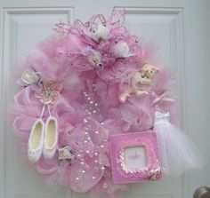Personalized Pink Deco Mesh and Tulle Dance by HungUpOnWreaths,