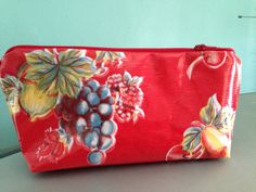 Large oilcloth makeup cosmetic zipper pouch clutch wet bag oilcloth