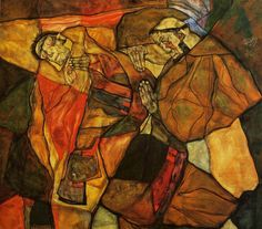 Agony by Egon Schiele (1912) - Enchanting colours, abstract geometric shapes and haunting skeletal features make this a soulful painting.