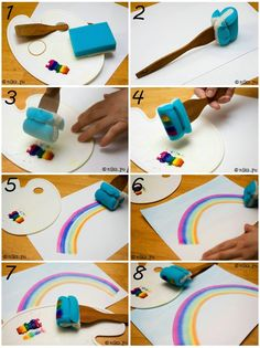 How to make a fun rainbow :) Your kids will love the result and they will surely have so much fun while doing it. #crafts #kids #rainbow