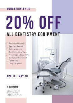 Dentistry Equipment Sale with Dentist Office View — Create a Design Online Posters, School Quotes, Medical School, Marketing Materials, Dentistry, Ecommerce, Packaging Design, Dental, Templates