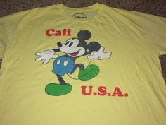 Sale Vintage MICKEY MOUSE Cali USA Yellow T shirt by casualisme