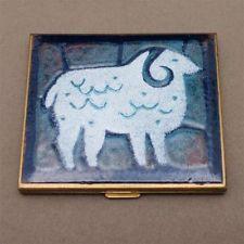 Ram Sheep Powder Compact Enamel Vintage