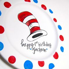birthday plate, cat in the hat #dr seuss polkadot