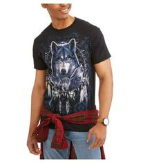 Big Men's Wolf Pattern Graphic Tee, Size: Black