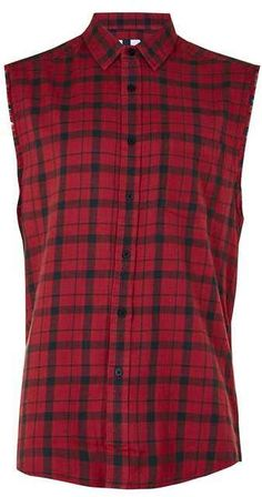 Red Check Sleeveless Shirt | TOPMAN saved by #ShoppingIS