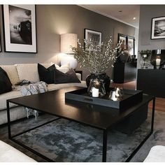 go=decoration salon appartement - PDF documents Home Living Room, Apartment Living, Black Living Room Furniture, Black Living Rooms, Apartment Ideas, Decorate Apartment, Modern Apartment Decor, Interior Design Living Room, Living Room Designs