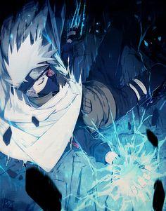 1boy bandages falling hatake_kakashi naruto one_eye_closed red_eyes scar sharingan silver_hair solo spiky_hair