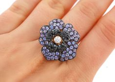 LeVian 2.26 CTTW Tanzanite and Diamonds Wild Flower RING 14 KT Yellow Gold NEW
