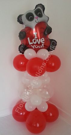 Valentines Day Panda Balloon Column http://floatingcreations.co.uk