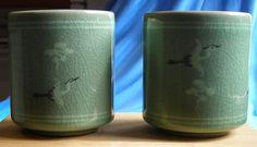 Korean Sake Cups Celadon Glaze Green Crackle Porcelain Pottery Crane Motif #Korean