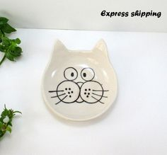 Keramik-Platte, Katze, Teller, handgemachte Teller von naz's ceramics auf DaWanda.com