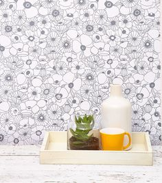 """Temporary wallpaper Designed by featured designer Lisa Congdon. When asked what her inspiration was behind the print she said, """"This pattern is a hand drawn pattern of my favorite Bathroom Wallpaper, New Wallpaper, Peel And Stick Wallpaper, Wallpaper Ideas, Wallpaper Backsplash Kitchen, Kitchen Walls, Wallpaper Designs, White Wallpaper, Colorful Wallpaper"""