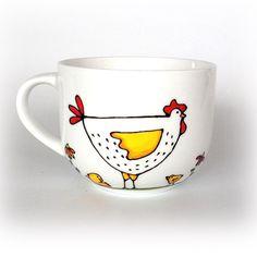 Offrez une tasse bol à café pour votre maman adorée - Mère poule / peint à la main par Isabelle Malo / https://www.cadeauexclusif.ca/fr/amour-amitie/tasse-bol-mere-poule