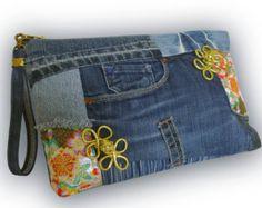 Recycled Old Jeans & Hand-dyed Indigo Fabric Clutch by Kazuenxx