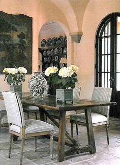 Just love this color pallet. Beautiful dining space.