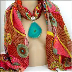 Bijou de Foulard / Bélière - Pendentif Agate Turquoise et belle écharpe multicolore : Echarpe, foulard, cravate par ladyplazza