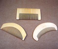 Japanese Hair Comb 3 Vintage Kanzashi Geisha Hair Wooden Comb Dressing Comb Vanity Comb (EN)