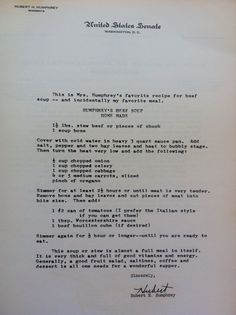 The famous Humphrey soup recipe. No tomatoes and added rutabaga for my grandmothers.