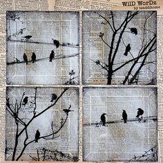 Negro pájaro hecho a mano vidrio montaña Set de por tzaddihome