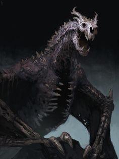 Undead dragon, Edward Delandre on ArtStation at… Monster Art, Monster Design, Dark Fantasy Art, Dragon Artwork, Fantasy Dragon, Creature Concept, Horror Art, Mythical Creatures, Dark Creatures