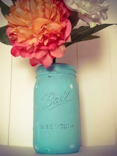 Handpainted Mason Jar Vase