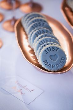 Rose Gold Grey Cookies Wedding Candy Bar Inspiration