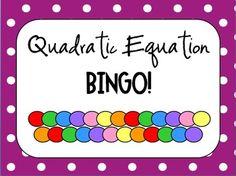 Solving Quadratic Equations by Factoring - Bingo Game!