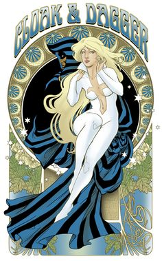 Cloak and Dagger Nouveau! Inspired by Mucha's Music sketch by Hezaa