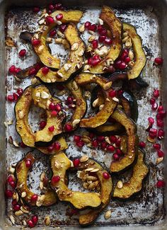 Brown Butter Roasted Acorn Squash with Toasted Hazelnuts, Pomegranates and Squash Seeds - Cooking for Keeps