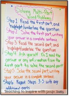 Solving Multi Part Word Problems Chart with Free Printable at this link.