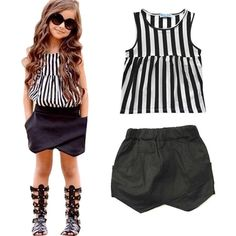 New 2017 Children Clothing Girls Set Fashion Striped Shirt + Shorts Pants Girls Suits Summer Kids Baby Girls Clothes Outfits