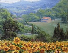 Landscape painting of Tuscany sunflowers by Jennifer Young