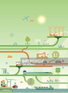 Vector Art : Network diagram of interconnection between energy, work, play and the provision of good and services