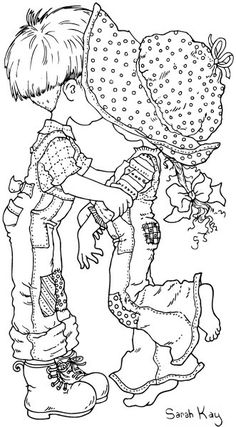 Girl & Boy Kissing by Sarah Kay - B&W Image/Coloring Page/Line Art Drawing Arabic Pattern, Holly Hobbie, Coloring Book Pages, Digi Stamps, Coloring For Kids, Printable Coloring, Colorful Pictures, Embroidery Patterns, Barn