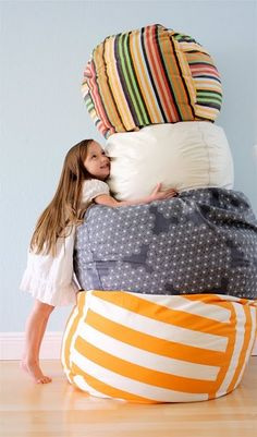 DIY Bean Bag-Not just for sitting, but finally somewhere to put all of the stuffed animals!