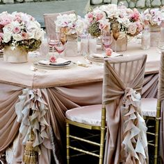 classy vintage wedding reception | Elegant reception linen table set up <3 :)