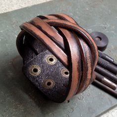 Antique Men's Brown Leather Cuff Bracelet, Leather Wrist Band Wristband Handcrafted Jewelry on Etsy, $12.50