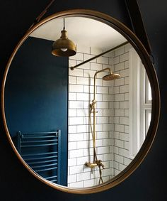 BATHROOM | Farrow and Ball 'Hague Blue' walls with copper pipes in shower room