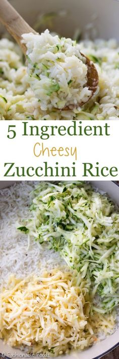 An easy side dish to help use up all of those garden zucchinis! This cheesy zucchini rice requires just 5 ingredients and be served as a side or used as the base for a tasty burrito bowl! Rice Recipes, Side Dish Recipes, Vegetable Recipes, Cooking Recipes, Healthy Recipes, Delicious Recipes, Yummy Food, Veggie Meals, Recipes