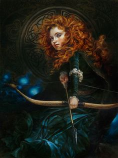 Heather Theurer - Her Father's Daughter (Brave), 24 x 18, Hand-Textured Giclée on Canvas