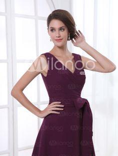 A-line Grape Chiffon Bow V-Neck Knee-Length Bridesmaid Dress For Wedding - Milanoo.com