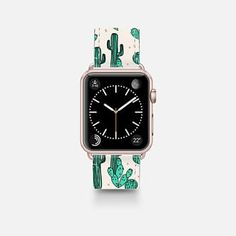 Buy Cactus by Andrea Lauren Apple Watch Band Gold Aluminum Saffiano Watchband by Andrea Lauren at CASETiFY. Cute Apple Watch Bands, Smart Watch Apple, Apple Watch Series, Disney Apple Watch Band, Bracelet Apple Watch, Airpods Apple, Apple Watch Accessories, Bracelet Cuir, Leather Watch Bands