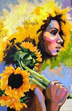 The yellow flowers speaks volumes to her soul surrounding her in gold❣️❣️❣️ Amazing art work❣️❣️❣️ Black Art Painting, Painting Prints, Paintings, African American Art, African Art, Art And Illustration, Arte Black, Kunst Inspo, Atelier D Art