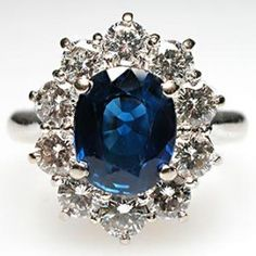 Blue Sapphire & Diamond Ring Solid 18K White Gold