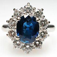 Blue Sapphire & Diamond Ring Solid 18K White Gold